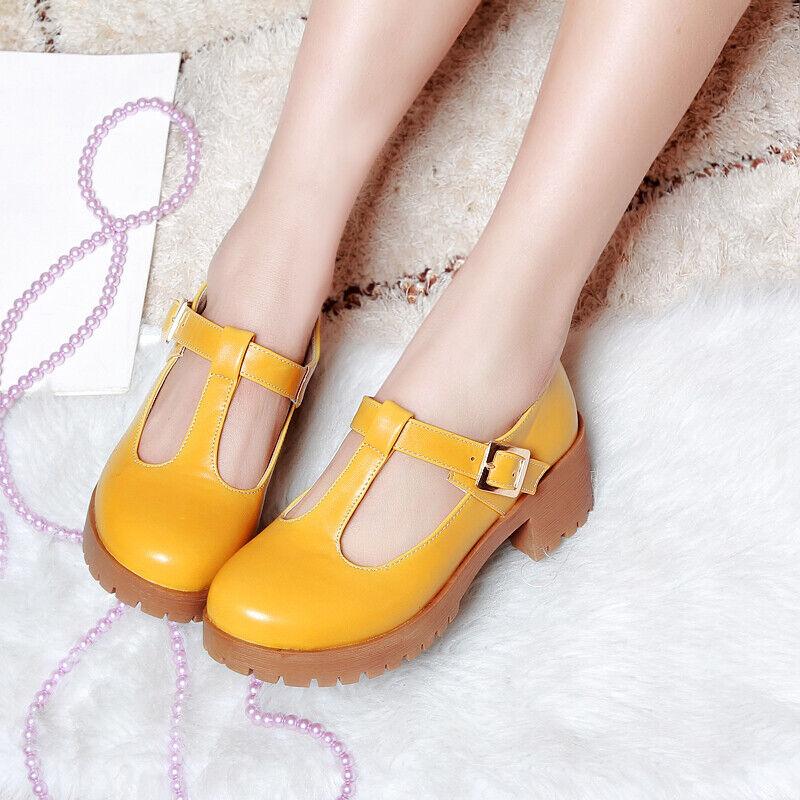 Women's Heels T-Bars Ankle Buckle Sandals Fashion Round Toe Platform Block Shoes