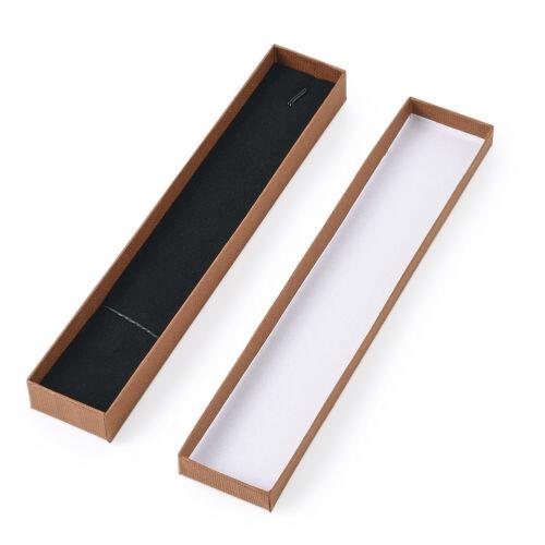 12pcs Rectangle Cardboard Jewelry Necklace Pendants Boxes Present Case 21x4X2cm
