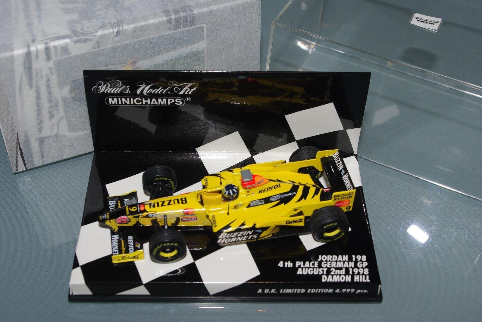 Minichamps F1 1 43 Jordan 198-Damon Hill - 4th Place German GP 1998-UK Ltded