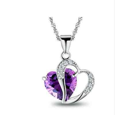 NEW Women Heart Crystal Rhinestone Chain Silver Pendant Necklace Fashion Jewelry