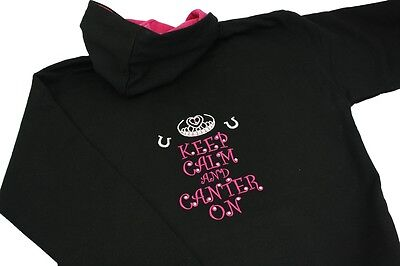Clever Girls Ladies Keep Calm And Canter On Diamante Crystal Horse Riding Hoodie