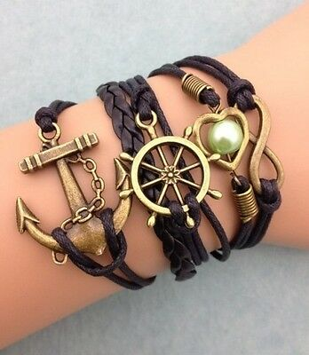 NEW Infinity Anchor Heart Round Leather Charm Bracelet plated Copper DIY !!!