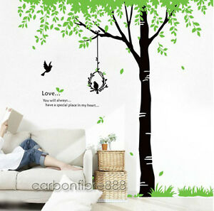 Image is loading Giant-84-039-039-Green-Tree-Removable-Wall-  sc 1 st  eBay & Giant 84u0027u0027Green Tree Removable Wall Stickers Vinyl Art Decal Office ...
