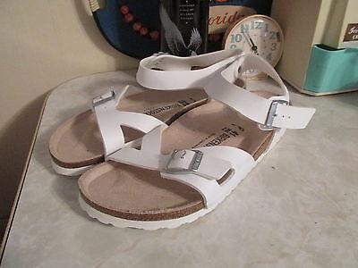 Details about Birkenstock Rio White Birko Flor Buckle Ankle Strap Sandals Women's SZ 41 10 US