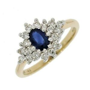 9ct-Yellow-Gold-0-49cts-Brilliant-Cut-Diamond-amp-Sapphire-Cluster-Ring-ND009