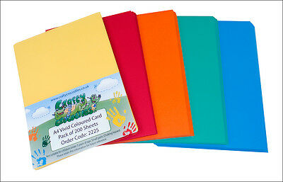 A4 Coloured Card 50 sheets Bright or Pastel Colours 210gsm