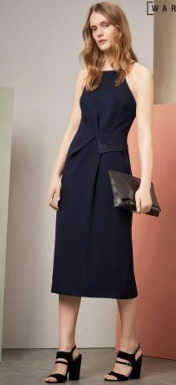 Warehouse Strappy Gatherot Crepe Dress Größe 10 rrp  Box D