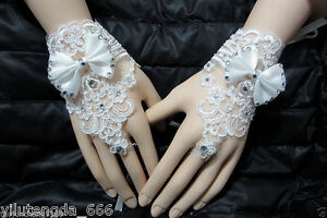 New-white-Ivory-Luxury-Diamond-Bow-Lace-Bridal-Gloves-Wedding-Gloves-Fingerless