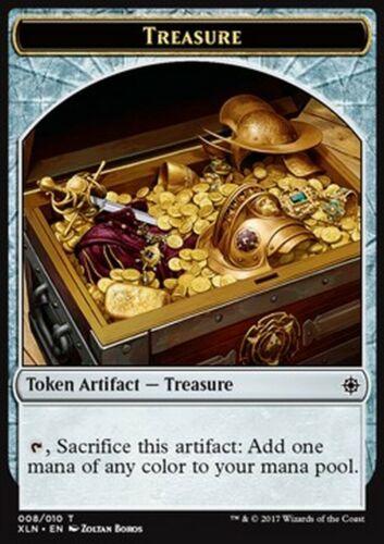 Jeton Treasure Trésor vers 2 MTG magic XLN MRM FRENCH 4x Token