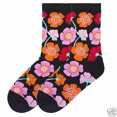 K.Bell White Black Cows and Daisies Hot Pink Ladies Crew Cotton Blend Socks New
