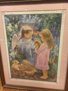 Home Interiors 2001 Guardian Angel Girl Puppies Picture Framed