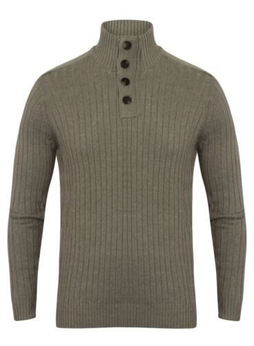 Mens Jumper Sweater Knitted Wool Look Cotton New Attire Ex Store Grey Size