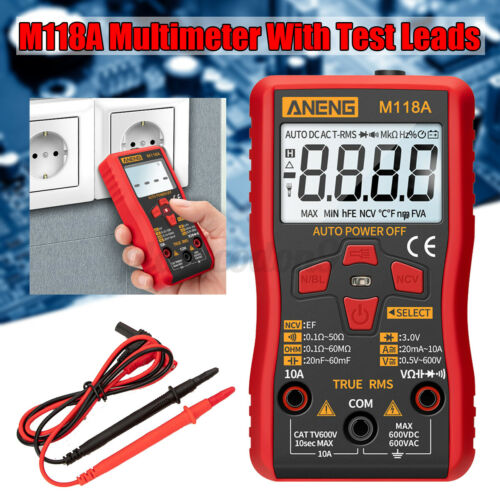 Aneng Elektrisch Digitalmultimeter RMS Auto Tester Transistor AC Dc