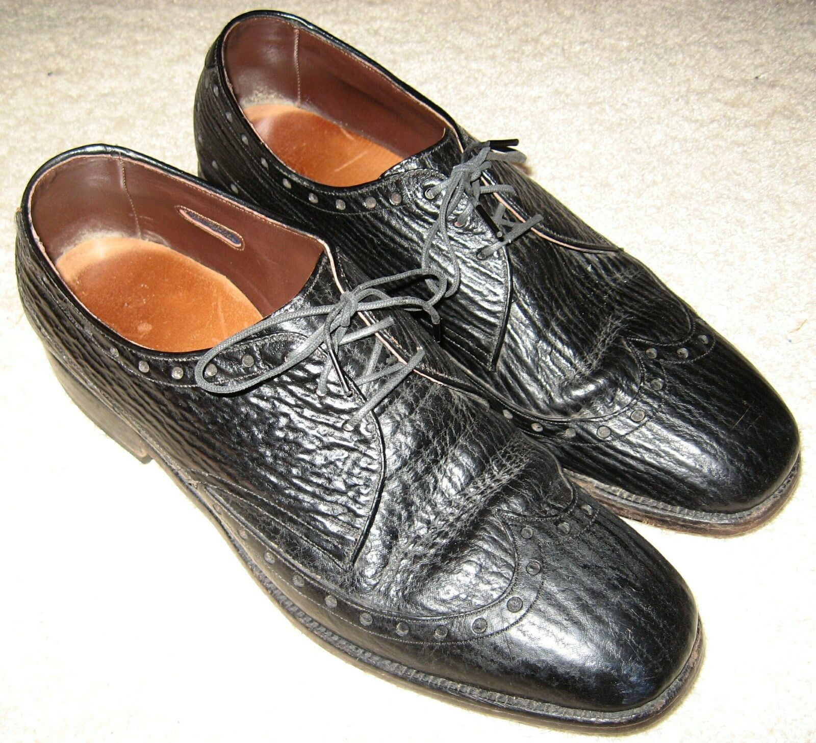 SHARKSKIN ALLEN EDMONDS Nassau Oxfords  9.5B  WINGTIP narrow n 1 2