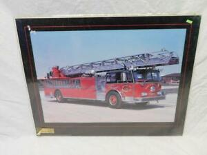 Tinley-Park-IL-Fire-Truck-Poster-1976-Seagrave-100-ft-Aerial-Ladder-Spirit-of-76