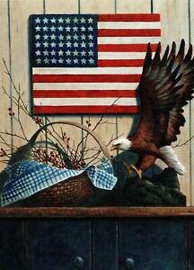 New! American Flag Blank Greeting Card