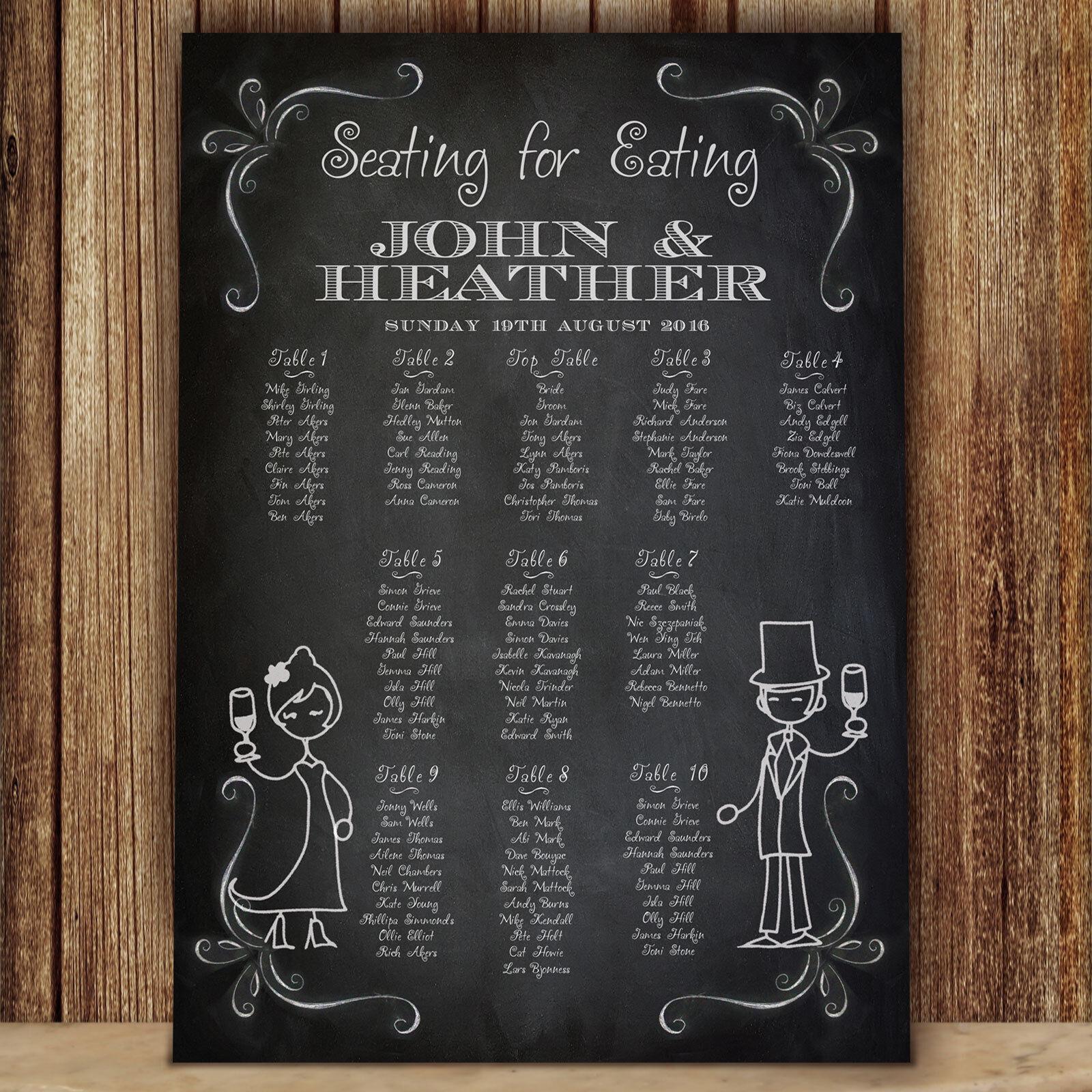 Personalised Chalkboard Design Wedding Seating Table PlanCanvasBoardPaper PC