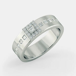 0-55-Carat-Genuine-Diamond-Mens-Wedding-Ring-Solid-14K-White-Gold-Band-Size-U