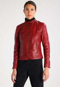 Women Motorcycle Real New Slim Biker Fit Leather Jacket Stylish Lambskin gBW71H