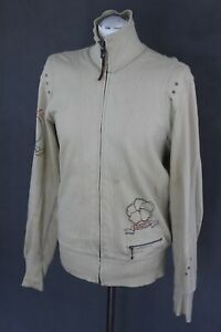 DIESEL-Mens-Beige-Jersey-JACKET-with-Embroidered-Detailing-Size-Medium-M