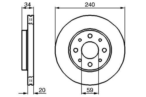 Vetech Front Vented Brake Disc 240mm Fiat Panda 1.2 Lpg 1.3 D Multijet 1.3 Jtd