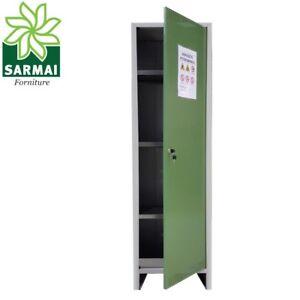 Armoires & Wardrobes Armadio Armadietto Alto Deposito Fitofarmaci Pratiko Certificato 50x40xh180 Cm Jade White Home & Garden
