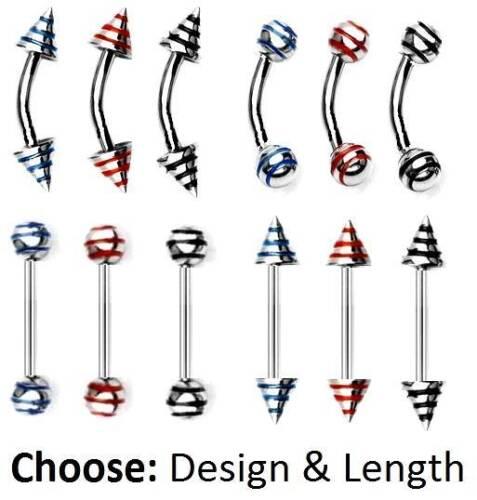Color 6mm 8mm 10mm Spike o bola y longitud A Rayas De Cejas Bar 1.2 mm-elegir