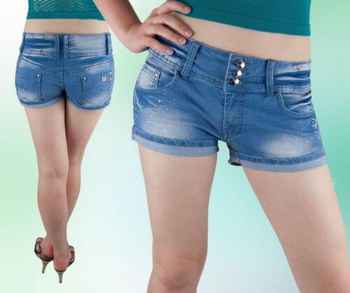 Damen Shorts Hose Jeans Hot Pants Kurz Hüftig Blau 36 38 40 42