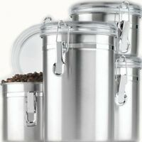 Canister Set Kitchen 4 Piece Stainless Steel Storage Clamp Top With Clear Lids
