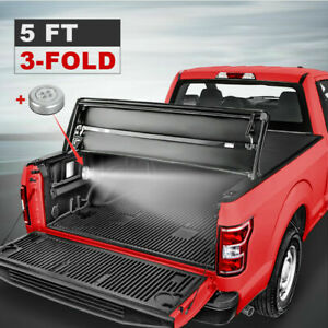 3 Fold 5 Ft Truck Bed Tonneau Cover For 15-2021 Chevy Colorado WT LT GMC Canyon