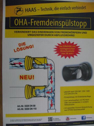 """Fremdeinspülstopp /""""Ben/"""" DN 90 Haas Rattenstop 3328"""
