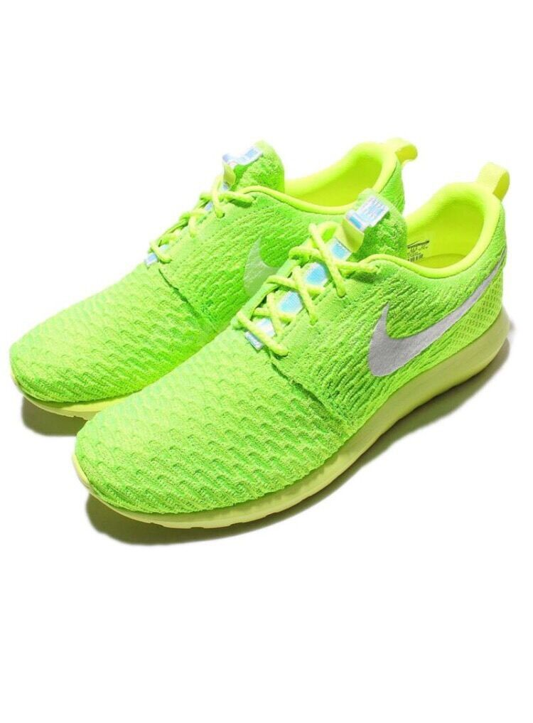 Nike Roshe Presque comme neuf Flyknit One Run Volt Vert Homme Chaussures De Course Baskets 677243-701