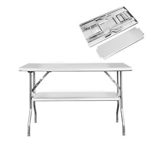 Image Is Loading Royal Gourmet Folding Table Double Shelf Stainless Steel
