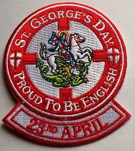 St-George-039-s-Day-Proud-To-Be-English-23rd-April-Embroidered-Iron-On-Patch-Badge