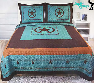 Texas Star Barbed Wire Western Style Quilt Bedspread Comforter Shams 3 Pcs Set