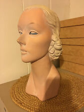 """Vntg BEAUTY 1930's-1940's Woman's MANNEQUIN HEAD ~ STORE HAT/JEWELRY DISPLAY~14"""""""