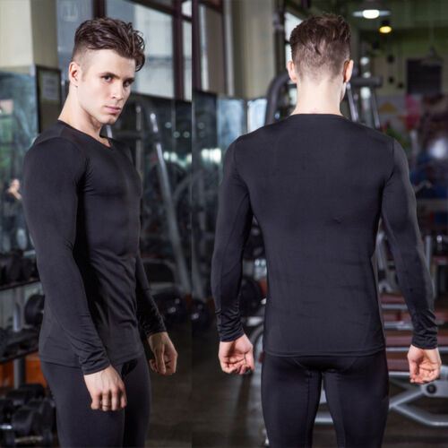 Men Workout Compression Jersey Running Training Gym Plain Shirts Dri-fit Tights