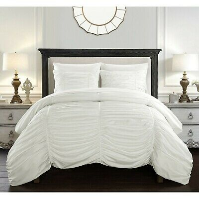 BEAUTIFUL MODERN WHITE RUFFLED PLEAT TEXTURED RUCHED  DUVET COMFORTER COVER SET