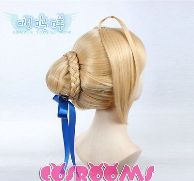 Fate stay night Saber Anime Cosplay Costume Wig +Free Track No + Wig CAP