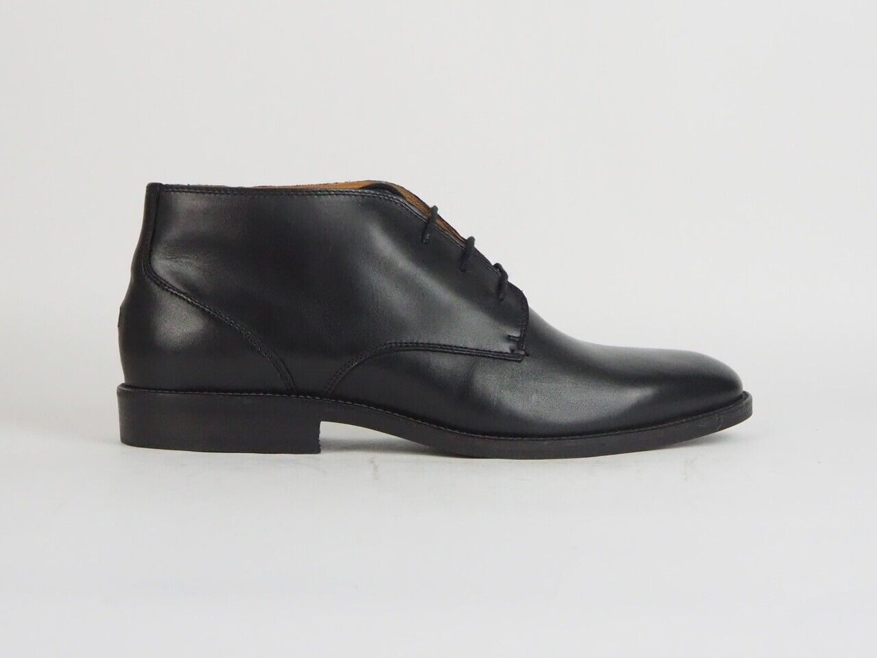 Mens Tommy Hilfiger Essential Leather Casual Black Lace Up Cukka Boots