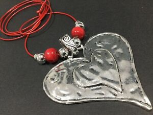 Large Statement Hammered metal heart pendant on long Suede necklace Lagenlook
