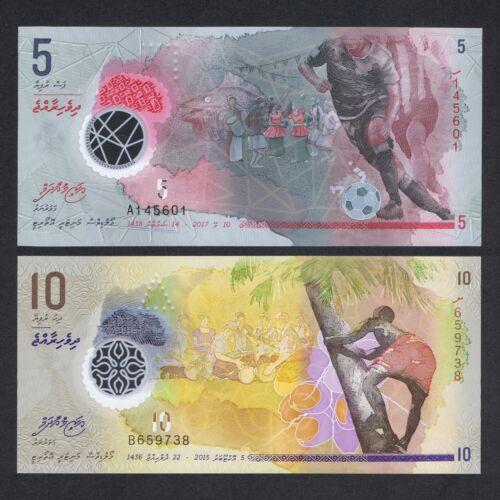SET 2015//2017 MALDIVES 5 10 RUFIYAA POLYMER P-A26 26 UNC /> SOCCER PALM TREE