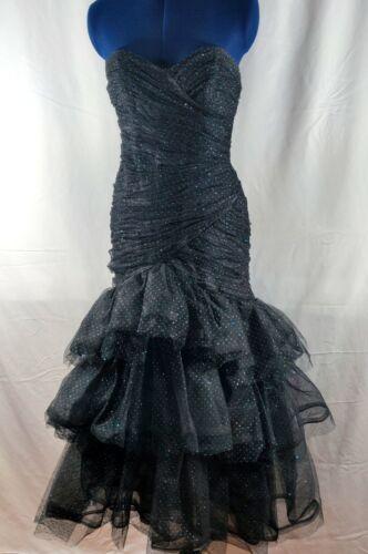 Vtg Victor Costa Dress Strapless Black Tiered Meta