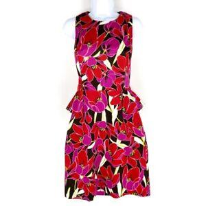 Kate-Spade-New-York-Womens-Peplum-Dress-Multicolor-Floral-Stretch-Sleeveless-8