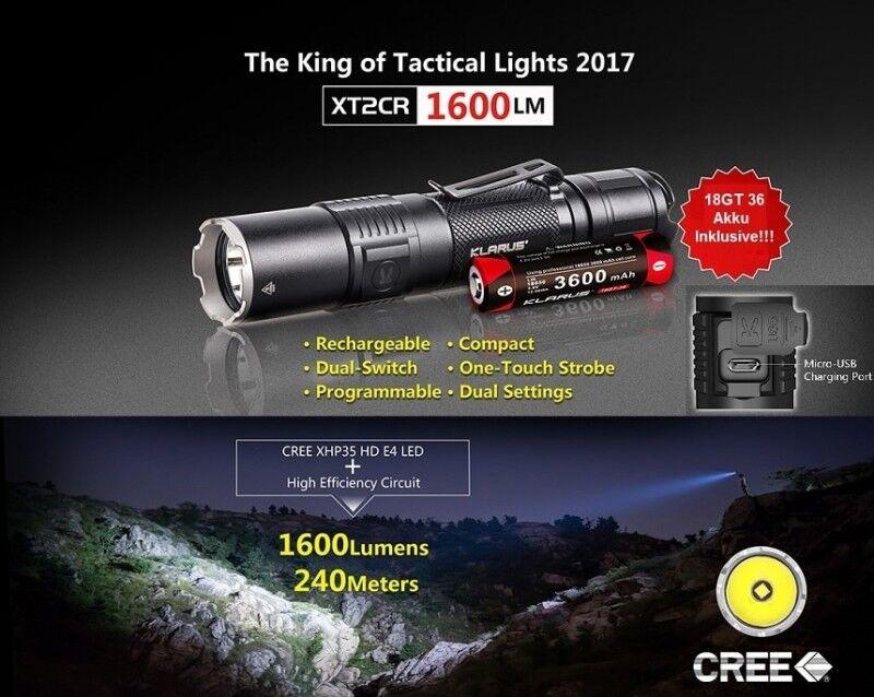 Taktische Taschenlampe Klarus XT2CR mit 1600 Lumen + Akku + Halterung Aufladbar  | München Online Shop