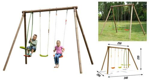 altalena in legno altezza 235 cm. per 4 bambini larghezza 340 cm. robusta sicura