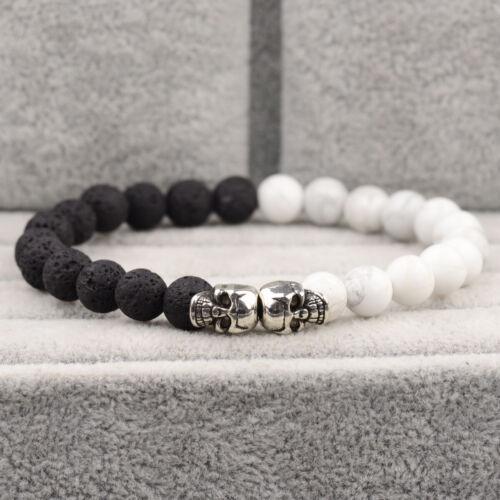 Men/'s Double Squelette Crâne bracelets rock Lava Nacres perles fait main Bracelets