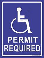 9 X 12 Aluminum Handicap Parking Sign Permit Required - In Package -