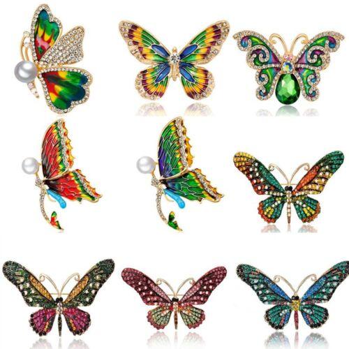 Fashion Animal Butterfly Crystal Enamel Brooch Pin Jewelry Women Custome Gift