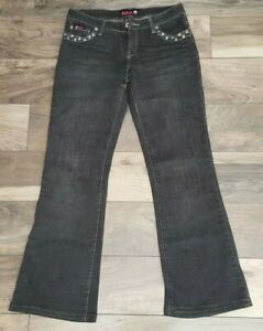 Bubblegum-Womens-Black-Jeans-Size-9-10-Flare-Lightly-Distressed-Studded
